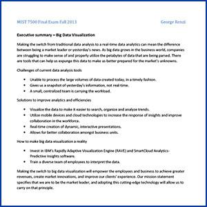 MIST 7500 Final Exam Fall 2013